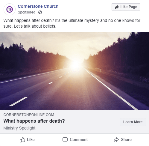 Facebook Ad Sample - What Happens After Death?